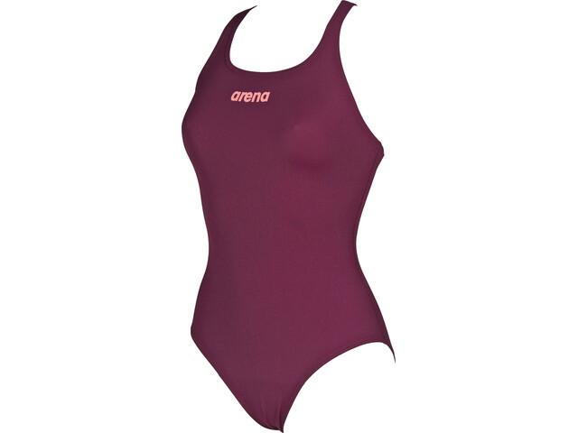 arena Solid Swim Pro Maillot de bain une pièce Femme, red wine-shiny pink